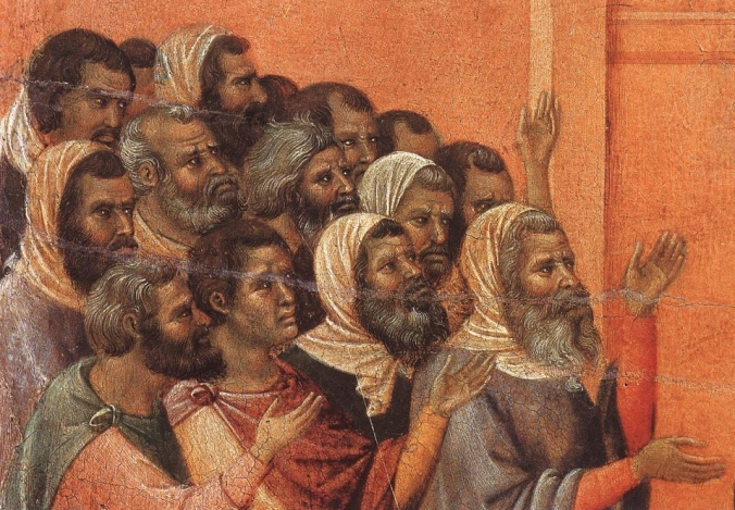 farizeeën beschuldigen christus (duccio di buoninsegna)